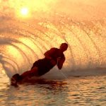 Waterskiing Just Before Sunset.
